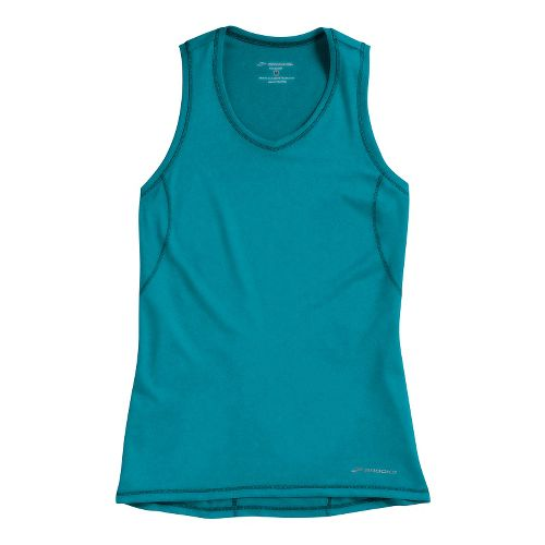 Womens Brooks Essential Vneck Sleeveless Technical Tops - Caribbean S