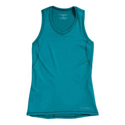 Womens Brooks Essential Vneck Sleeveless Technical Tops - Caribbean XL