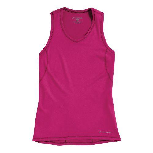 Womens Brooks Essential Vneck Sleeveless Technical Tops - Fuchsia XS