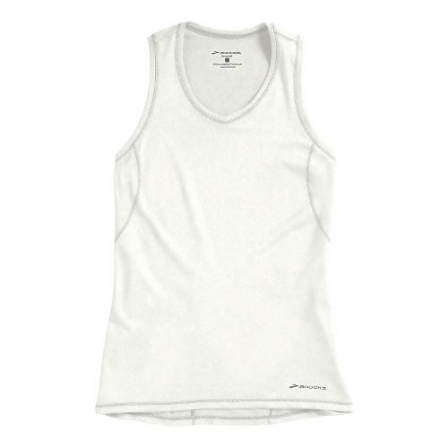 Womens Brooks Essential Vneck Sleeveless Technical Tops - White XS