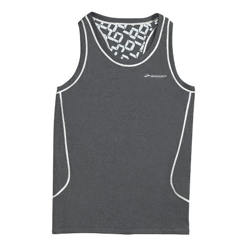 Womens Brooks Versatile Printed Racerback III Singlets Technical Tops - Heather Charcoal XS