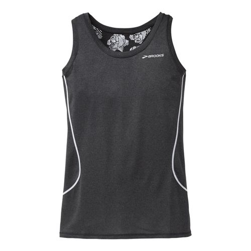 Womens Brooks Versatile Printed Racerback III Singlets Technical Tops - Heather Black XS