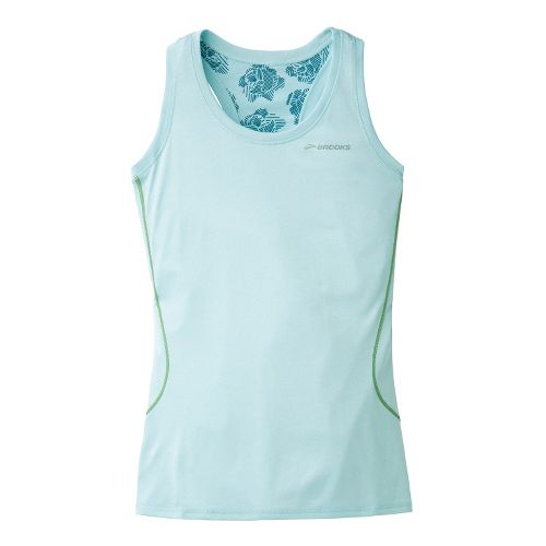 Womens Brooks Versatile Printed Racerback III Singlets Technical Tops - Heather Sea Breeze L