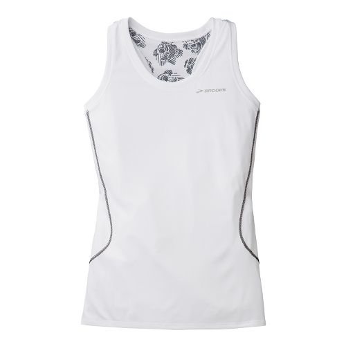 Womens Brooks Versatile Printed Racerback III Singlets Technical Tops - White XL