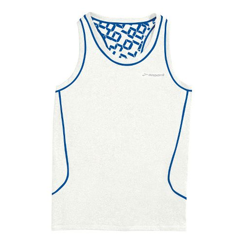 Womens Brooks Versatile Printed Racerback III Singlets Technical Tops - White/Electric XS