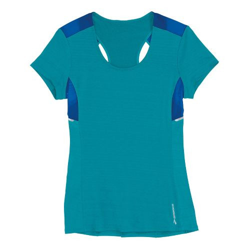 Womens Brooks Infiniti Short Sleeve Technical Tops - Caribbean/Electric XS