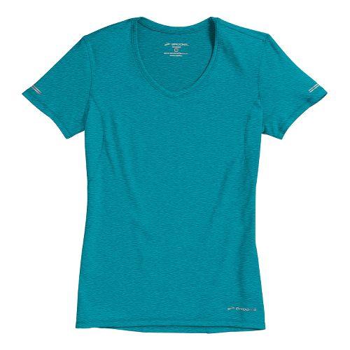 Womens Brooks Essential Vneck Short Sleeve Technical Tops - Caribbean XL