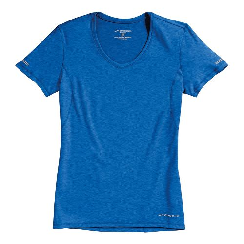 Womens Brooks Essential Vneck Short Sleeve Technical Tops - Electric S