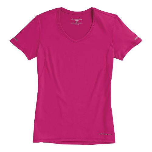 Womens Brooks Essential Vneck Short Sleeve Technical Tops - Fuchsia XS