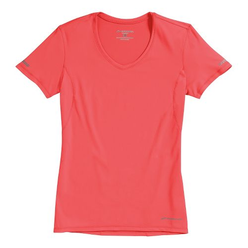 Womens Brooks Essential Vneck Short Sleeve Technical Tops - Poppy XS