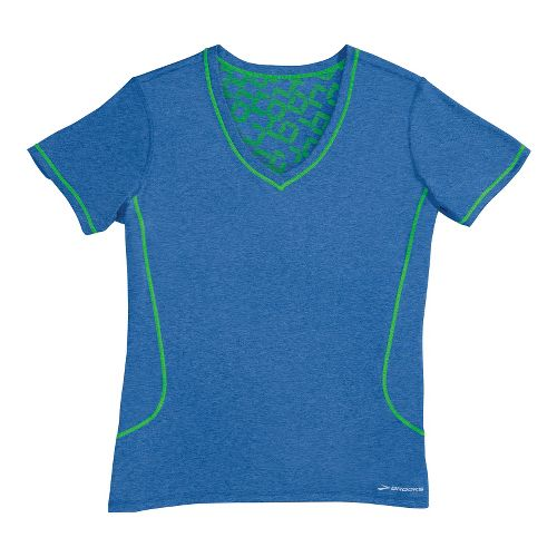 Womens Brooks Versatile Printed SS III Technical Tops - Electric/Lime L