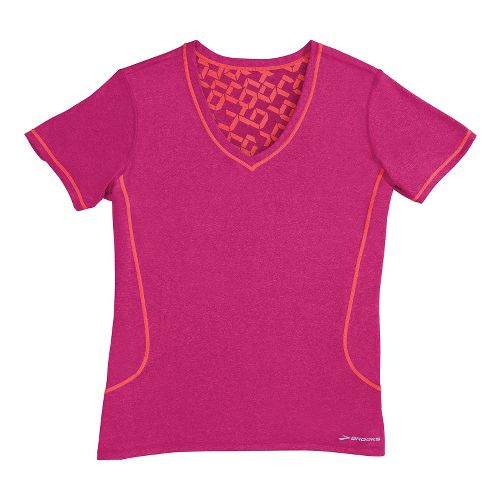 Womens Brooks Versatile Printed SS III Technical Tops - Fuchsia XS