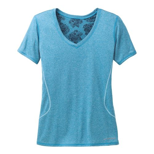 Womens Brooks Versatile Printed SS III Technical Tops - Heather Aurora XS