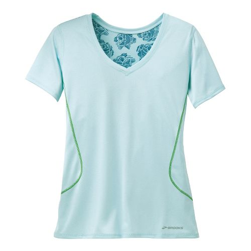Womens Brooks Versatile Printed SS III Technical Tops - Heather Sea Breeze M