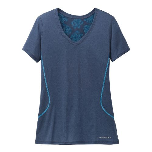 Womens Brooks Versatile Printed SS III Technical Tops - Midnight M