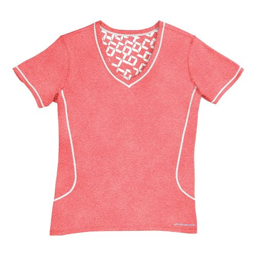 Womens Brooks Versatile Printed SS III Technical Tops - Poppy/White L
