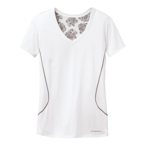 Womens Brooks Versatile Printed SS III Technical Tops - White XS