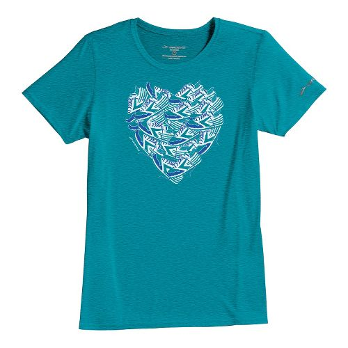 Womens Brooks EZ T III Love to Run Short Sleeve Technical Tops - Caribbean L ...