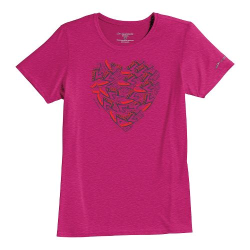 Womens Brooks EZ T III Love to Run Short Sleeve Technical Tops - Fuchsia S ...