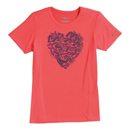 Womens Brooks EZ T III Love to Run Short Sleeve Technical Tops - Poppy XS ...