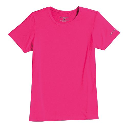 Womens Brooks EZ T III Short Sleeve Technical Tops - Brite Pink XL