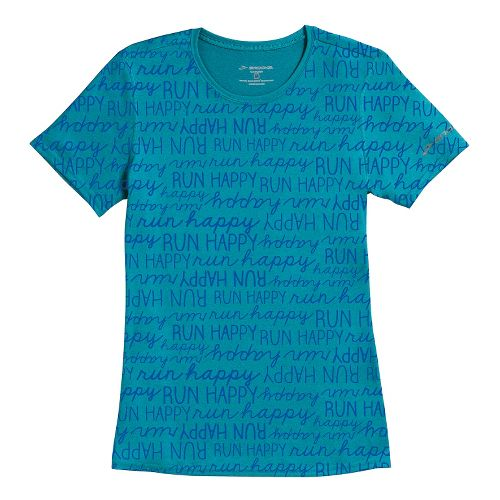 Womens Brooks EZ T III Run Happy Short Sleeve Technical Tops - Caribbean Run Happy ...
