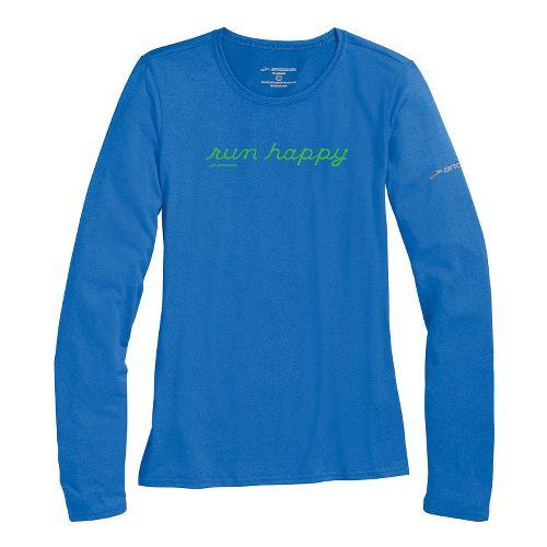 Womens Brooks EZ T III Run Happy Long Sleeve No Zip Technical Tops - Electric ...