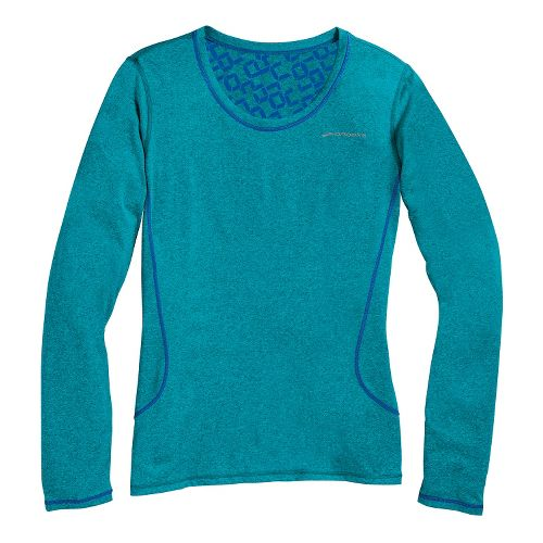 Womens Brooks Versatile Printed III Long Sleeve No Zip Technical Tops - Heather ...