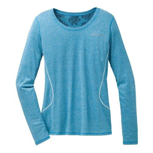 Womens Brooks Versatile Printed III Long Sleeve No Zip Technical Tops - Heather Aurora M ...