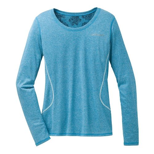 Womens Brooks Versatile Printed III Long Sleeve No Zip Technical Tops - Heather Aurora S ...