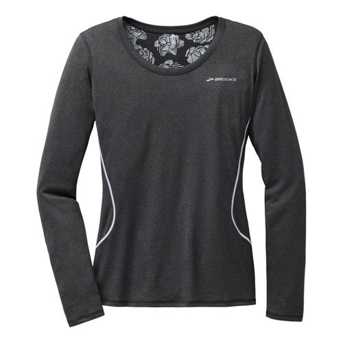 Womens Brooks Versatile Printed III Long Sleeve No Zip Technical Tops - Heather Black M ...