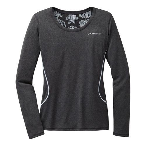 Womens Brooks Versatile Printed III Long Sleeve No Zip Technical Tops - Heather Black XL ...