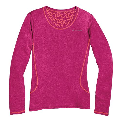 Womens Brooks Versatile Printed III Long Sleeve No Zip Technical Tops - Heather Fuchsia/Poppy L ...