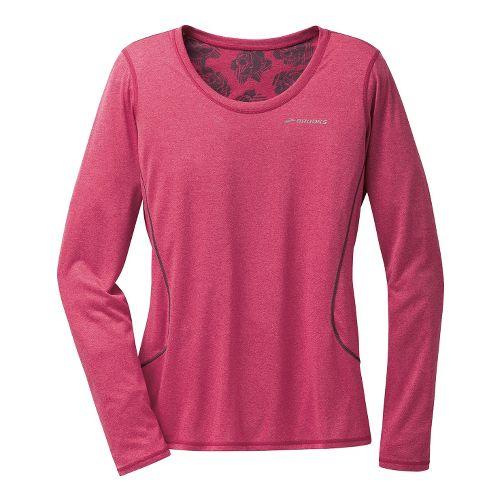 Womens Brooks Versatile Printed III Long Sleeve No Zip Technical Tops - Heather Jam XL ...