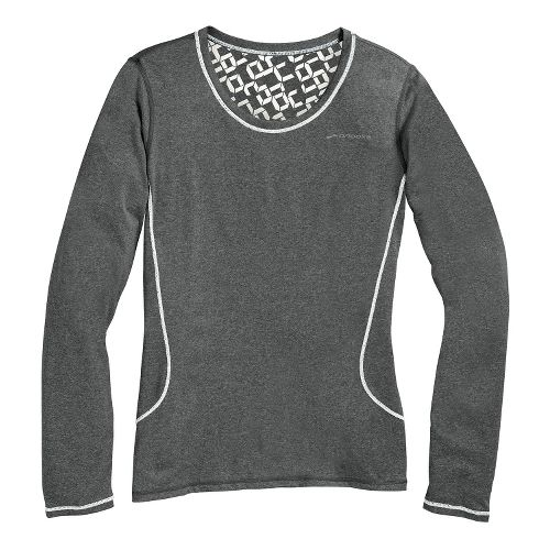 Womens Brooks Versatile Printed III Long Sleeve No Zip Technical Tops - Heather Mako/White L ...