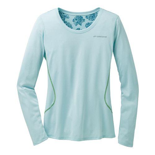 Womens Brooks Versatile Printed III Long Sleeve No Zip Technical Tops - Heather Sea Breeze ...