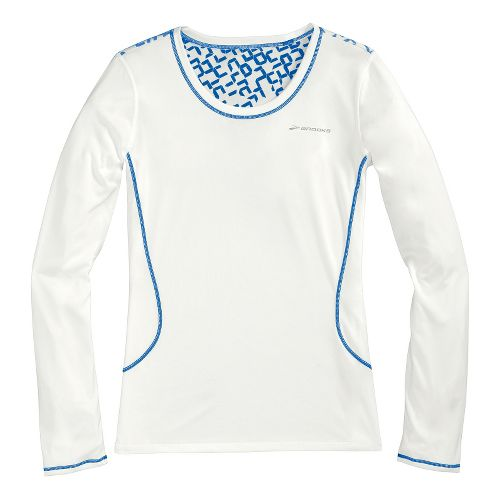 Womens Brooks Versatile Printed III Long Sleeve No Zip Technical Tops - White/Electric XS