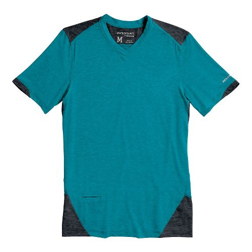 Mens Brooks PureProject Short Sleeve Technical Tops - Caribbean Sea/Anthracite S
