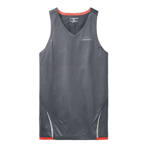 Mens Brooks Infiniti Singlets Technical Tops - Anthracite/Mars XL