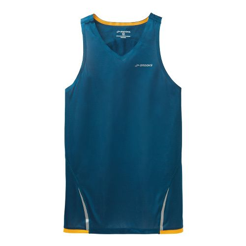 Mens Brooks Infiniti Singlets Technical Tops - Poseidon/Mango XL