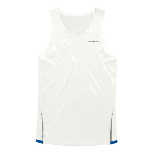 Mens Brooks Infiniti Singlets Technical Tops - White/Electric XL