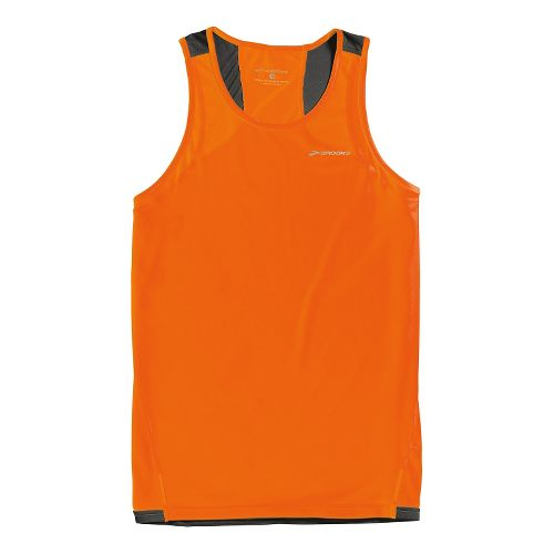 Mens Brooks Rev III Singlets Technical Tops - Brite Orange/Anthracite S