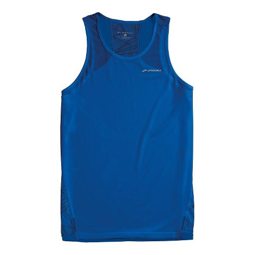 Mens Brooks Rev III Singlets Technical Tops - Electric Shattered Print/Electric S