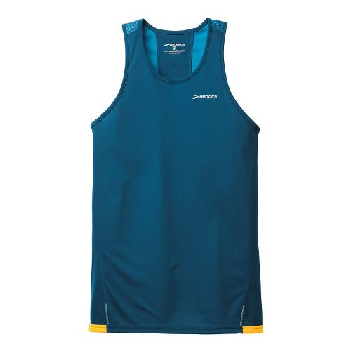 Mens Brooks Rev III Singlets Technical Tops - Poseidon/Baltic XL