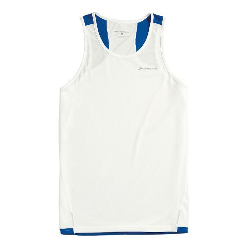 Mens Brooks Rev III Singlets Technical Tops - White/Electric S