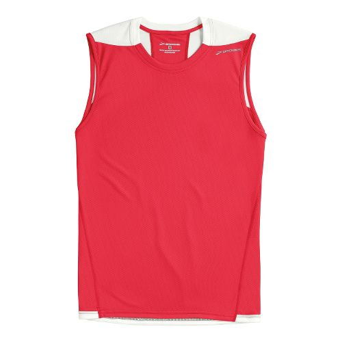 Mens Brooks REV III Sleeveless Technical Tops - Americana/White L