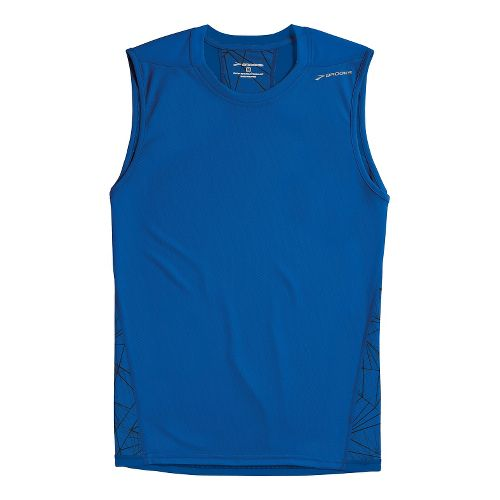 Mens Brooks REV III Sleeveless Technical Tops - Electric Shattered Print/Electric S
