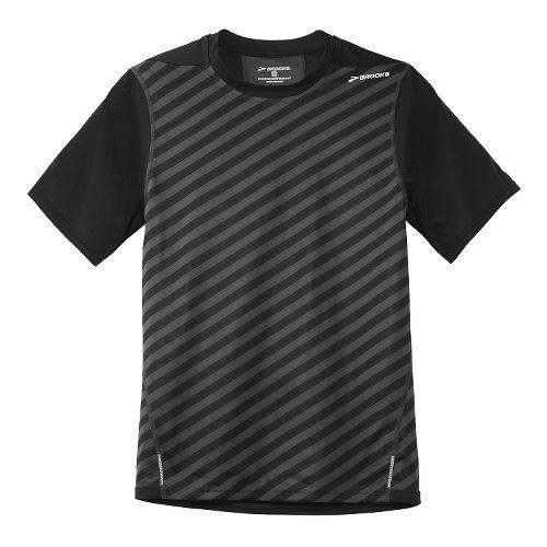 Mens Brooks Rev SS III Short Sleeve Technical Top - Black Stripe M
