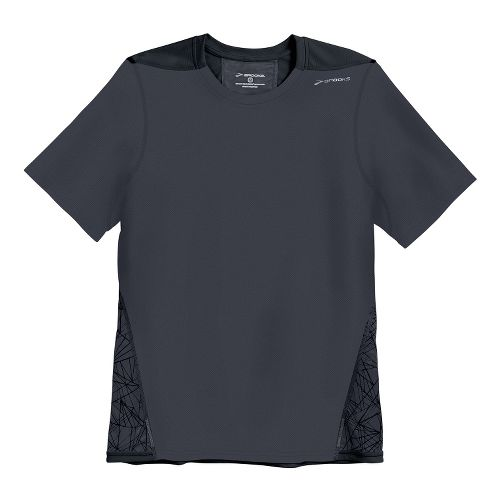 Mens Brooks Rev III Short Sleeve Technical Tops - Anthracite Shattered Print/Black M