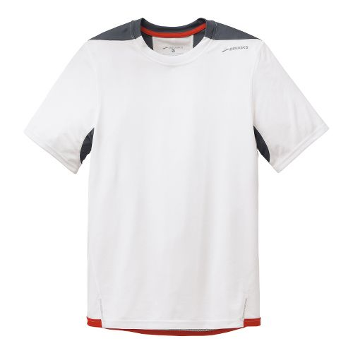 Mens Brooks Rev III Short Sleeve Technical Tops - White/Anthracite XXL